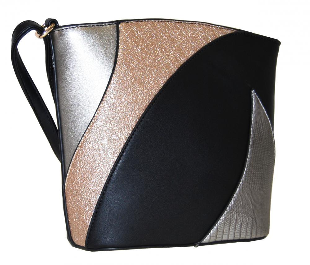 Černá dámská barevná menší crossbody kabelka Sansei