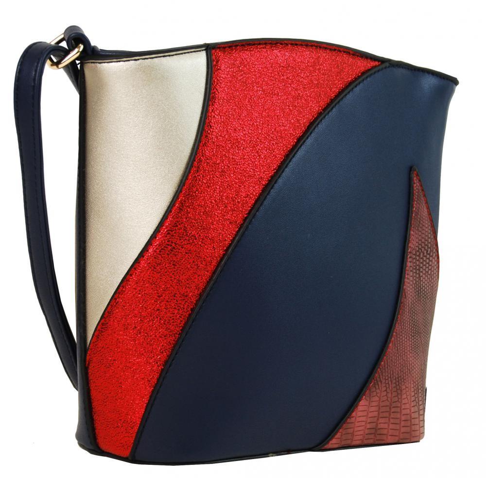 Modrá dámská barevná menší crossbody kabelka Sansei