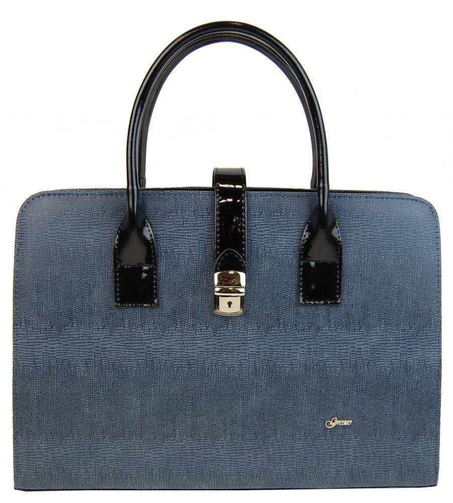 Modro šedá elegantní aktovková kabelka se sponou Dutie