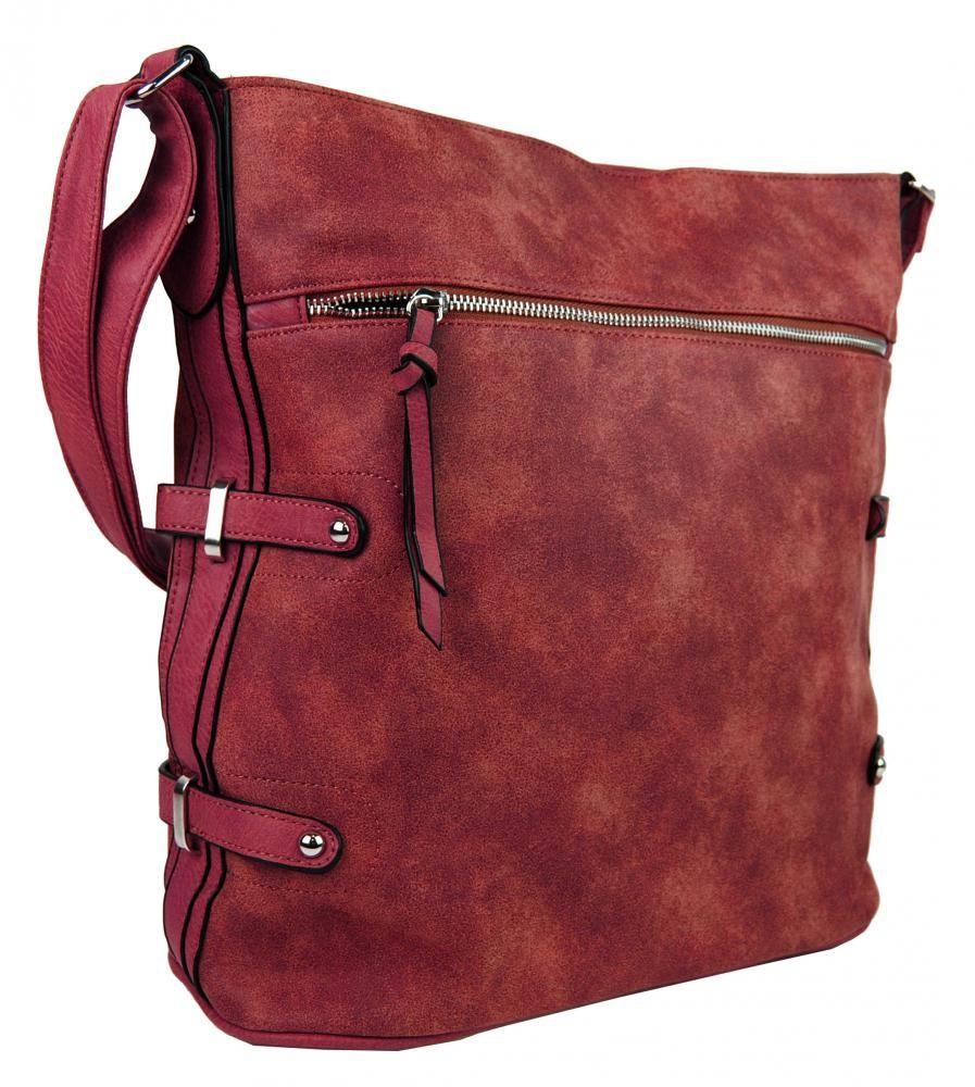 Tmavě červená moderní velká crossbody kabelka Franlie