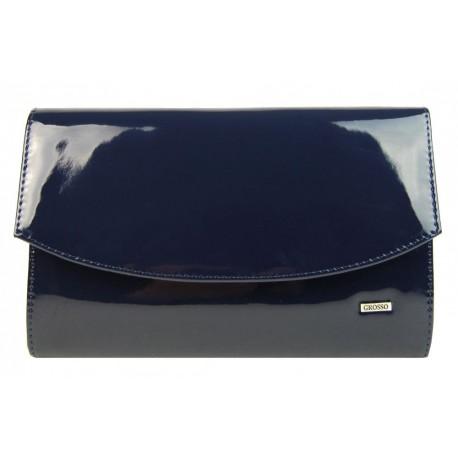 Tmavě modrá lakovaná společenská clutch kabelka Moll