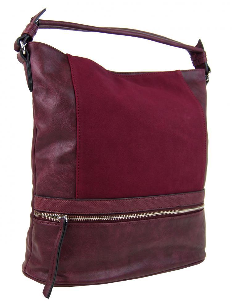 Vínově červená dámská moderní kombinovaná kabelka Barbel