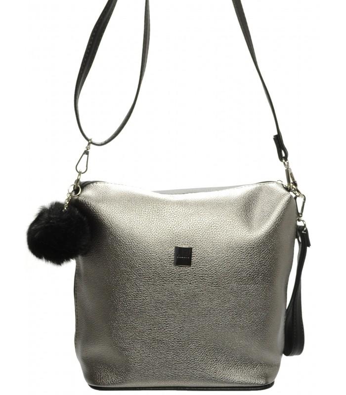 Stříbrná crossbody kabelka s kožešinou Daniie