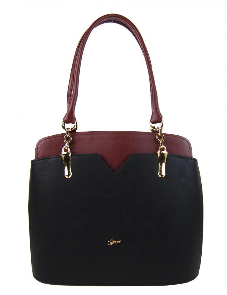 Černo vínová elegantní kabelka na rameno Startie