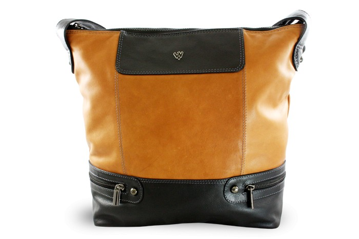 Hnědo černá dámská moderní kožená kabelka Irriel