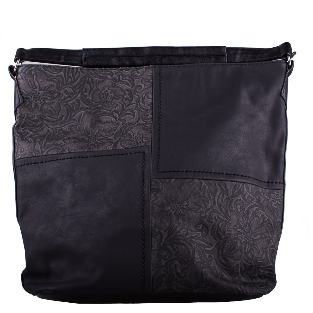 Černá velká crossbody kabelka s ornamenty Loliel