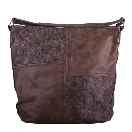 Tmavě hnědá velká crossbody kabelka s ornamenty Loliel