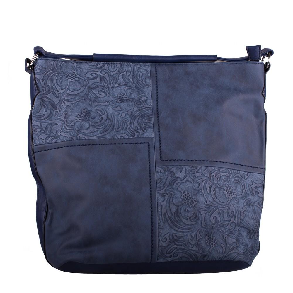 Modrá velká crossbody kabelka s ornamenty Loliel