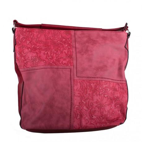 Červená velká crossbody kabelka s ornamenty Loliel
