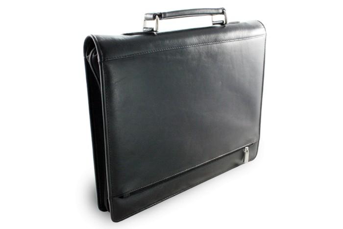 Černá kožená luxusní zipová spisovka Fendie