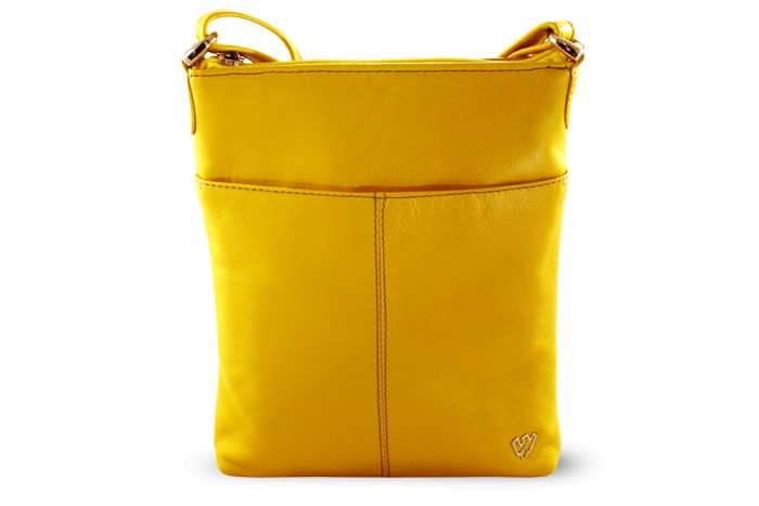 Žlutá kožená zipová crossbody kabelka Jenny