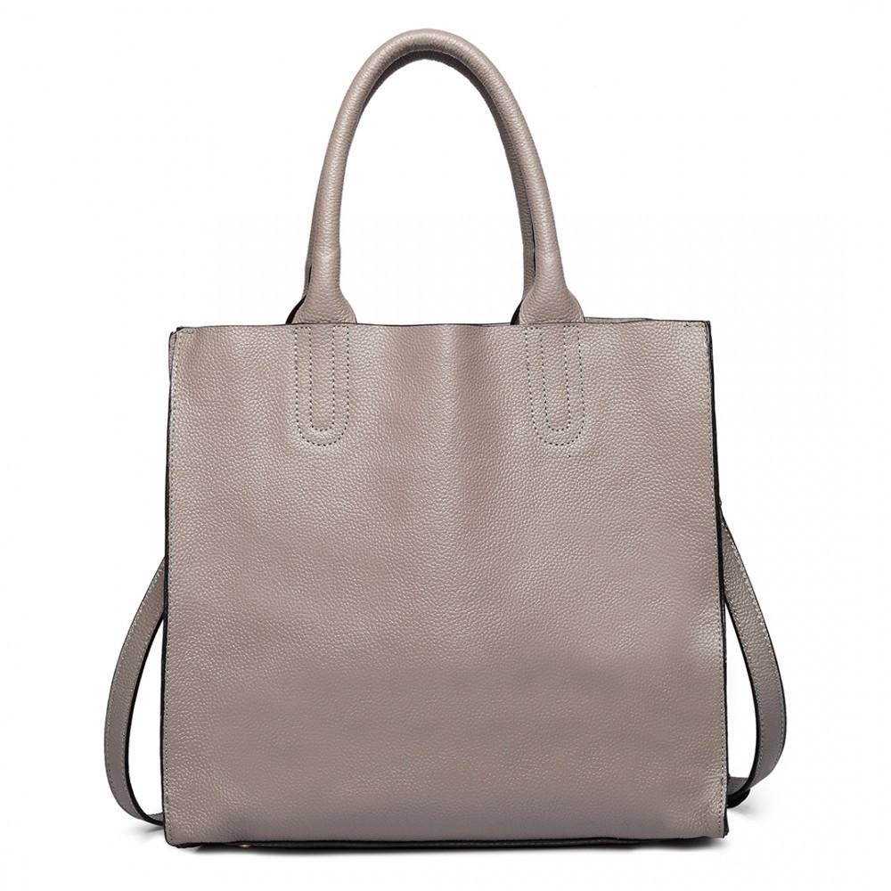 Šedá dámská kožená luxusní kabelka Pratie