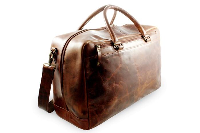 Hnědá cestovní kožená taška Citieln