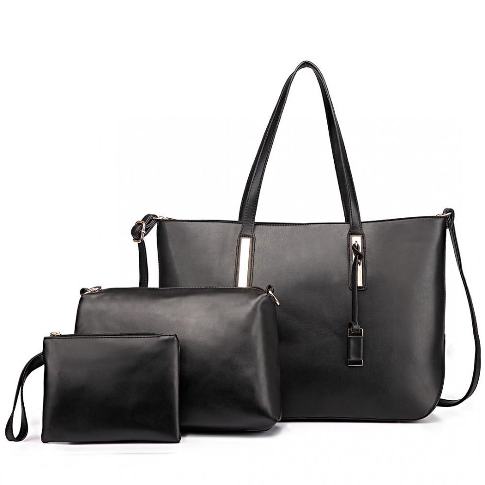 Černá luxusní moderní dámská 3v1 kabelka Luxien