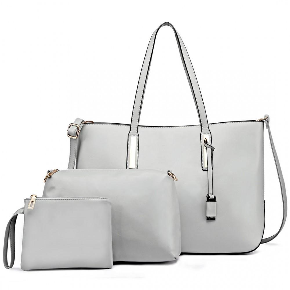 Šedá luxusní moderní dámská 3v1 kabelka Luxien