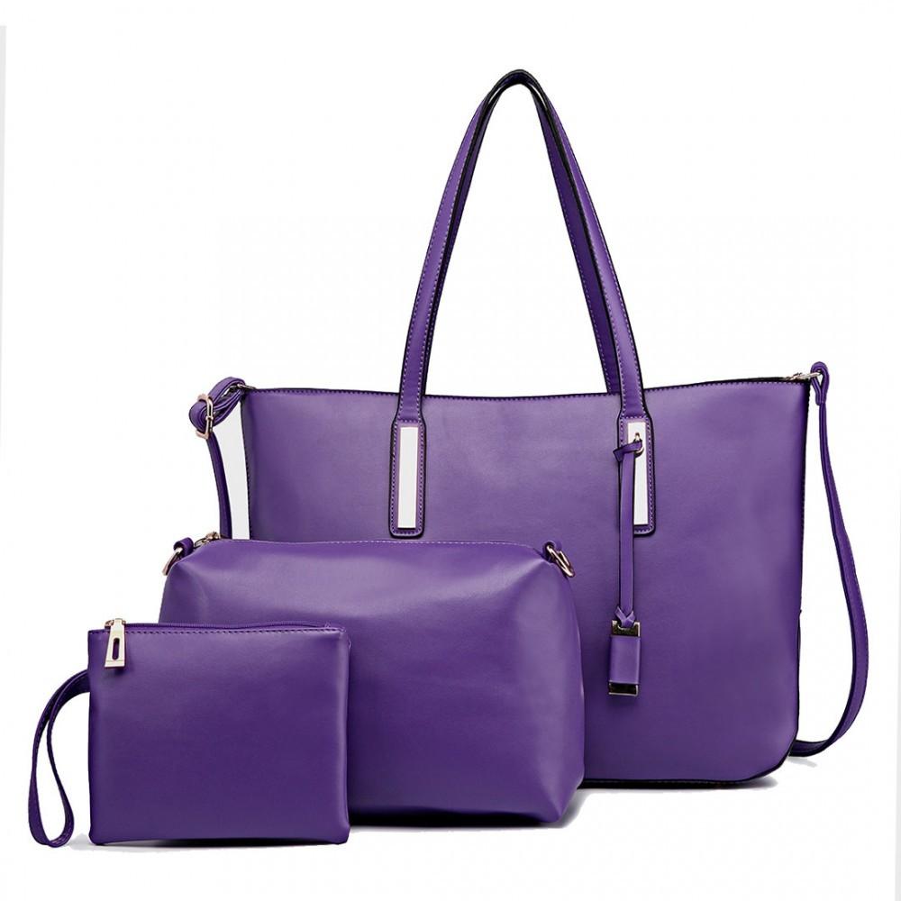 Fialová luxusní moderní dámská 3v1 kabelka Luxien