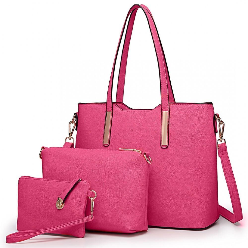 Růžový praktický dámský 3v1 kabelkový set Manmie