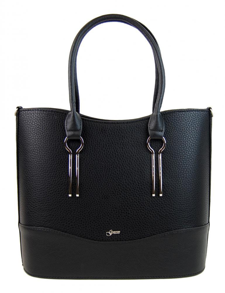 Černá kabelka kabelka s kovovými aplikacemi Obiel