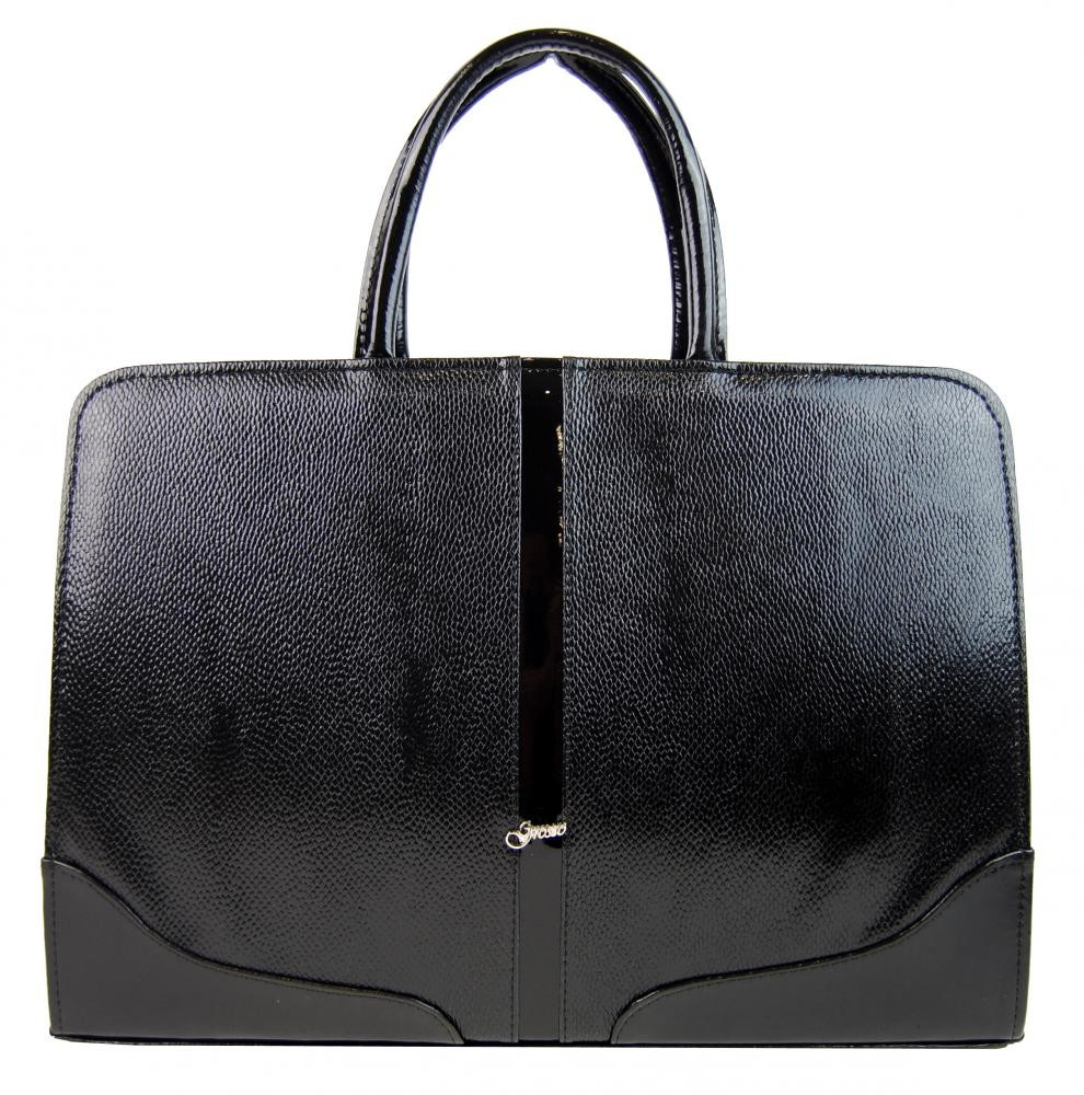 Černá luxusní dámská aktovka v hadím laku Londiel