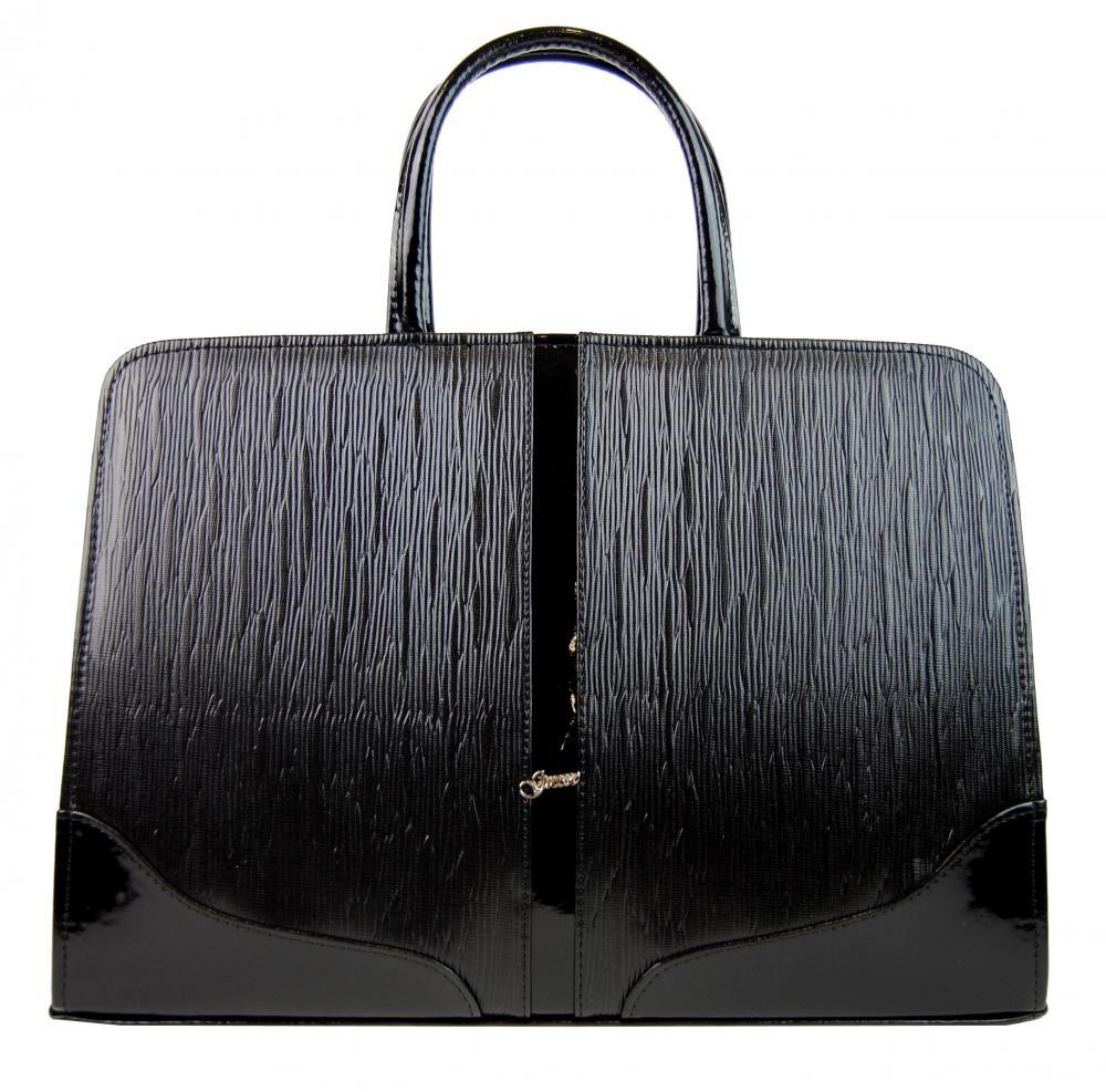 Černá luxusní dámská aktovka ve vroubkovaném laku Londiel