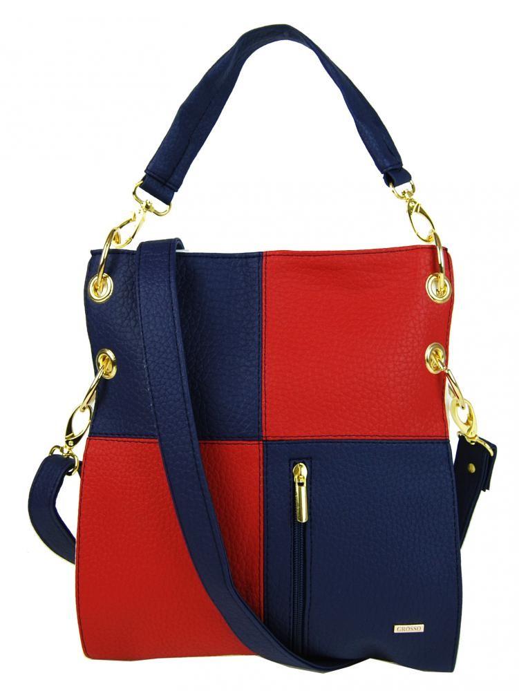 Červeno modro bílá crossbody kabelka Elvira