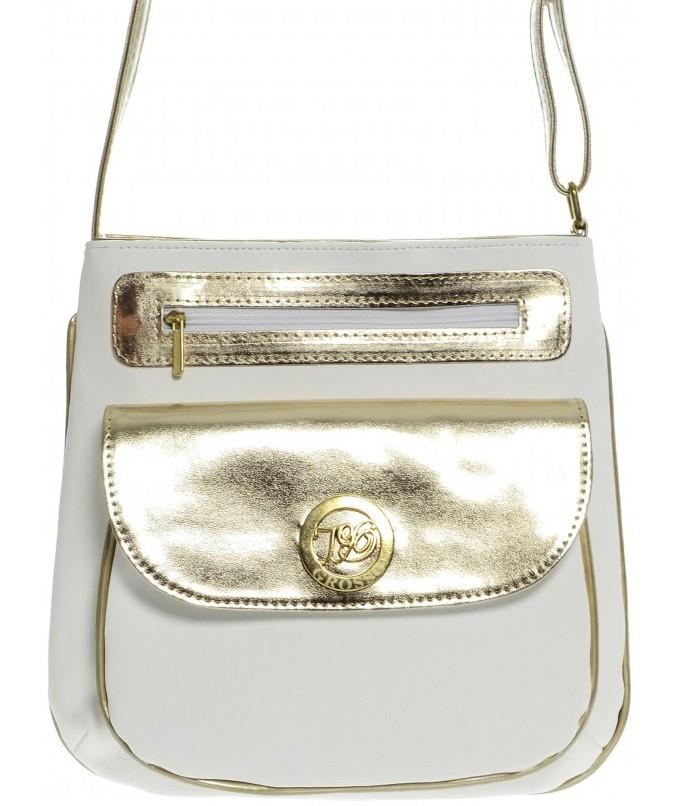 Zlato bílá crossbody kabelka Alessia