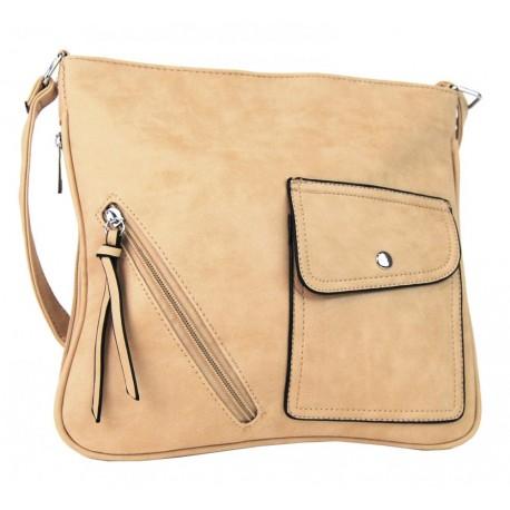 Béžová crossbody kabelka z broušené kůže Tessiel