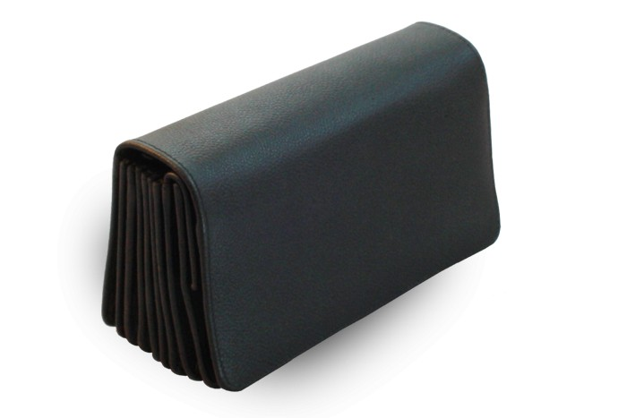 Černá kožená číšnická peněženka harmonika Jordyn