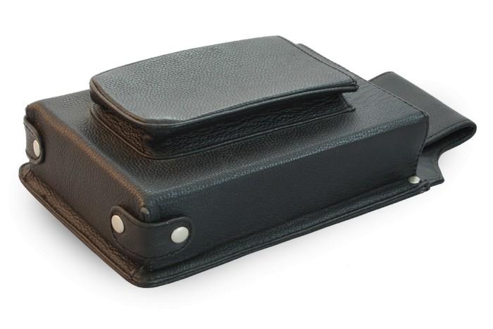 Černé kožené číšnické pouzdro pro flek Peyton