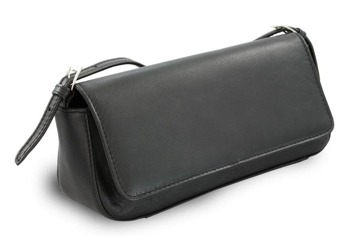Černá dámská kožená klopnová kabelka Eleanor