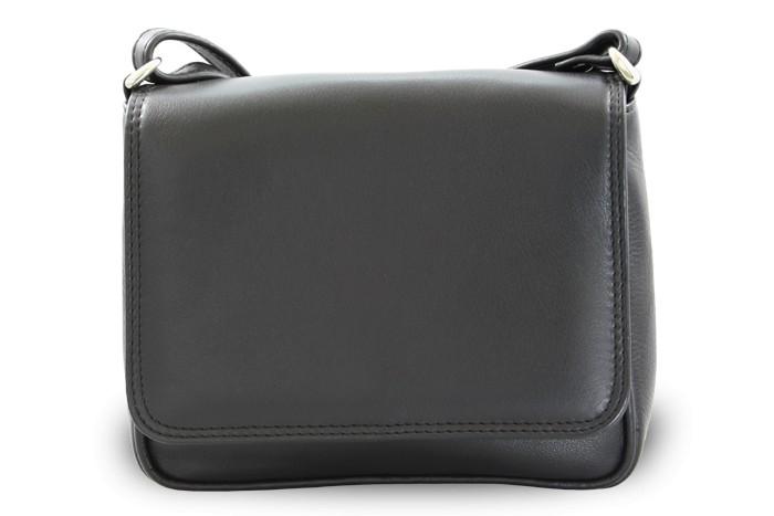 Černá kožená klopnová kabelka Allien