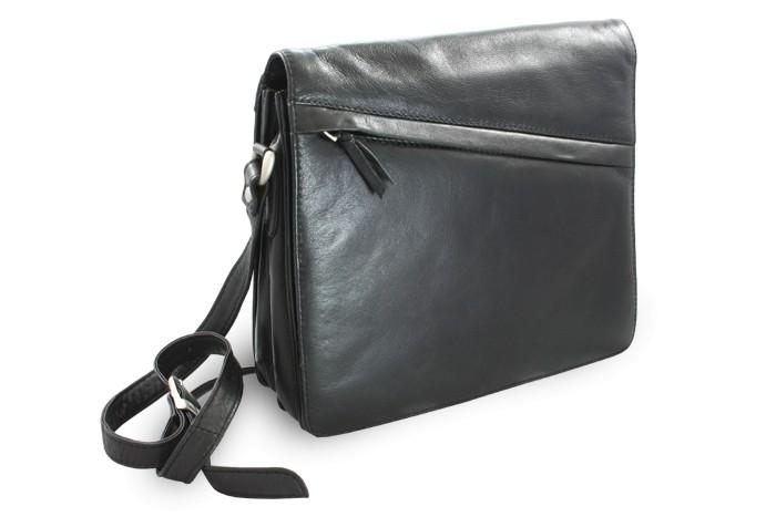 Černá dámská kožená klopnová kabelka Violet