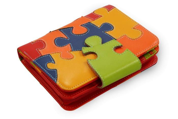 Motiv puzzle kožená peněženka Kenzie