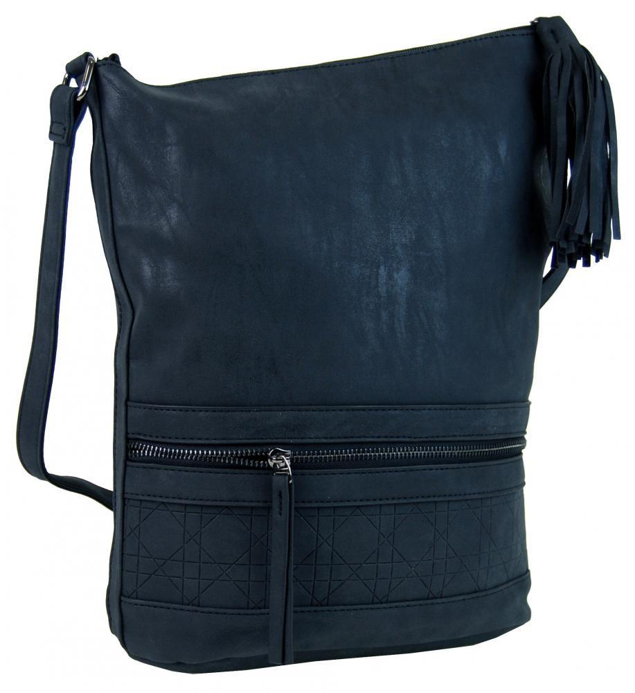 Tmavě modrá asymetrická broušená crossbody kabelka Magniel