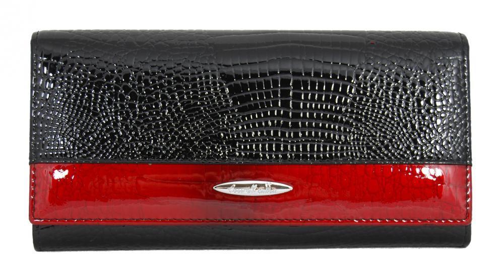 Černá kožená rámová elegantní dámská peněženka Louise