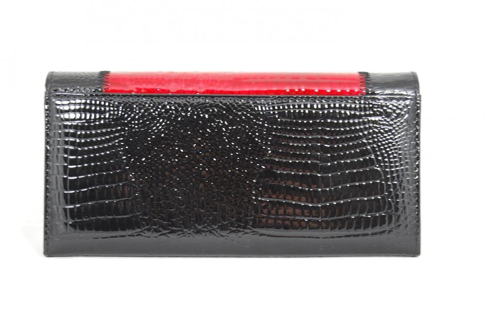 Černočervená dámská kožená rámová peněženka Rihana