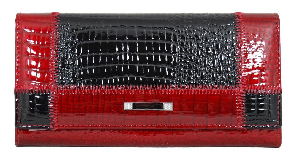 Červenočerná dámská kožená rámová peněženka Rihana