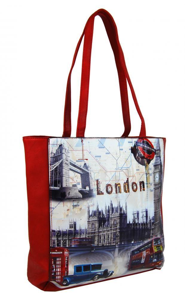 Červená moderní dámská kabelka na rameno Londien