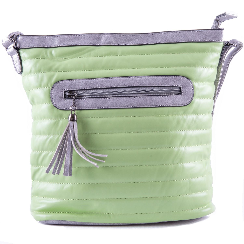 Zelená prošívaná crossbody nevšední kabelka Lolen