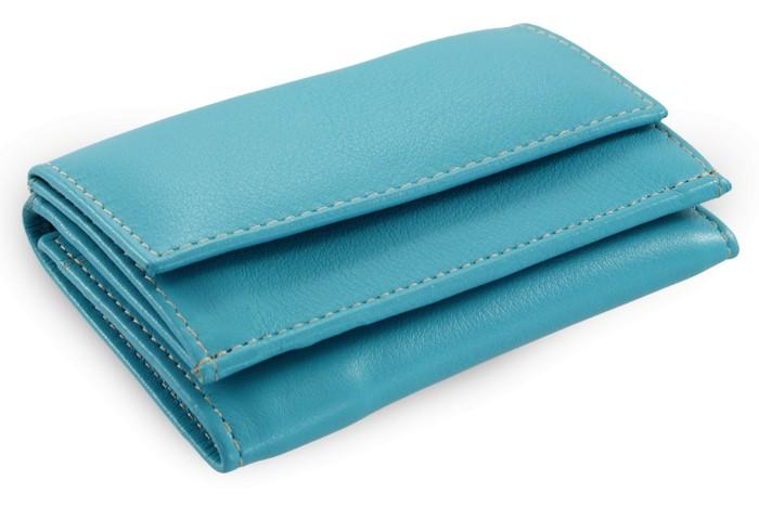 Tyrkysová kožená dámská menší peněženka Athena