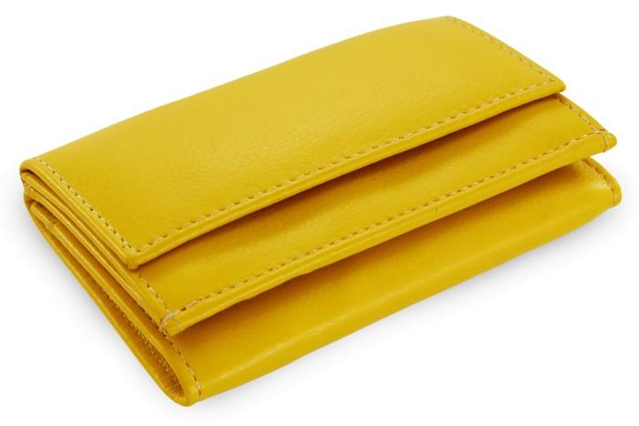 Žlutá kožená dámská menší peněženka Athena