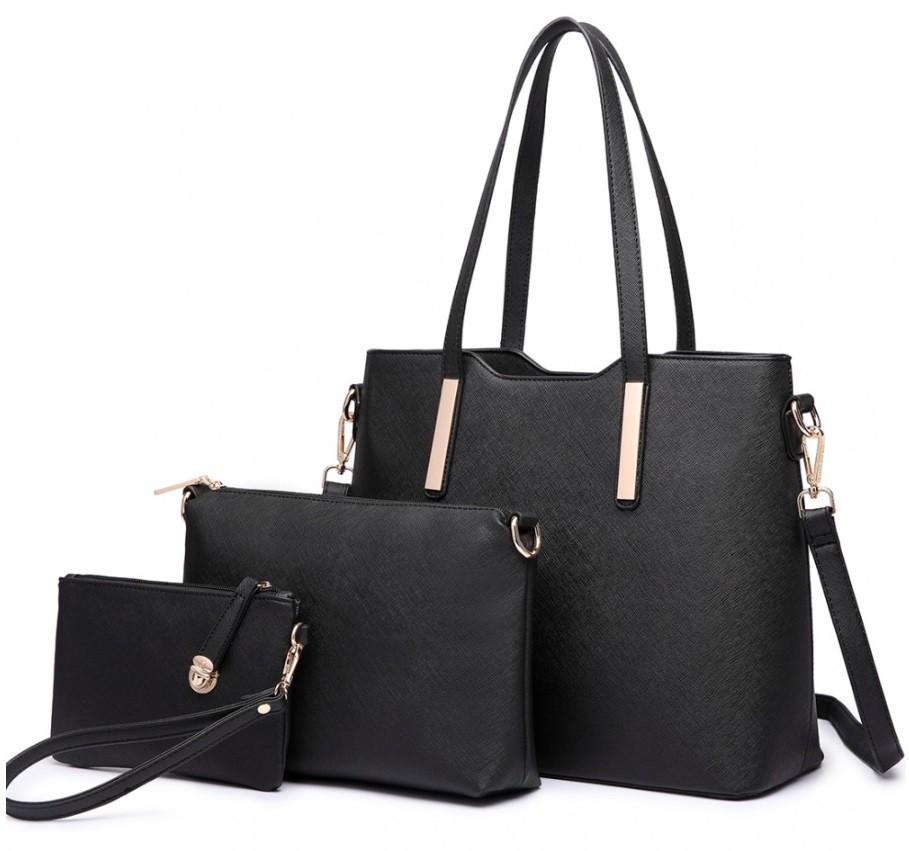 Černý praktický dámský 3v1 kabelkový set Manmie