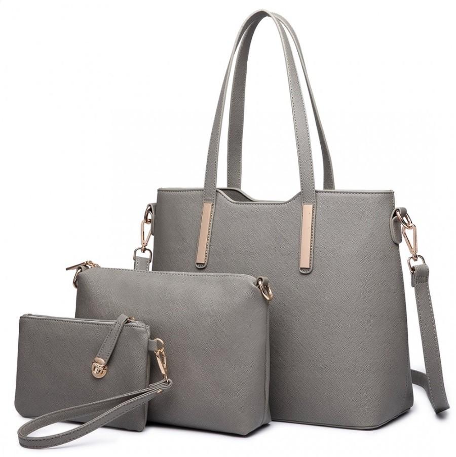 Šedý praktický dámský 3v1 kabelkový set Manmie
