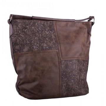 Tmavě hnědá velká crossbody kabelka s ornamenty Loliel 31fffa03a34