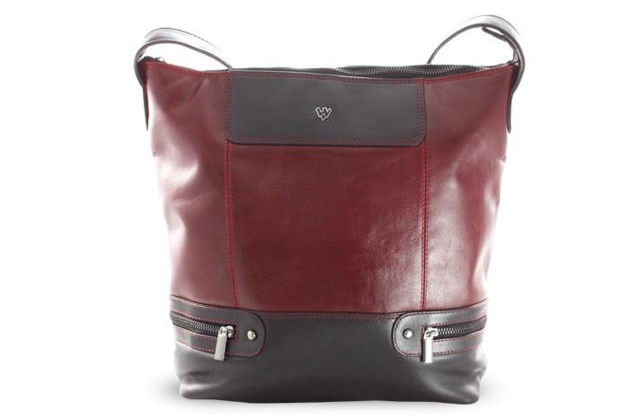 Červeno černá dámská moderní kožená kabelka Irriel