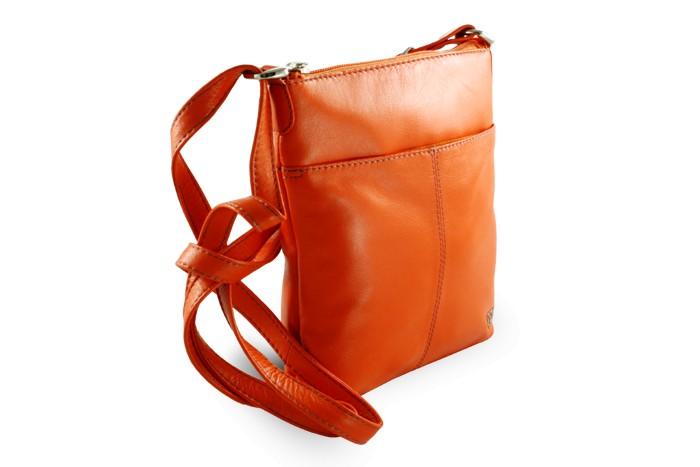 Oranžová dámská kožená zipová crossbody kabelka Jenny