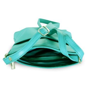 be1e539c4b Tyrkysová kožená zipová crossbody kabelka Jenny