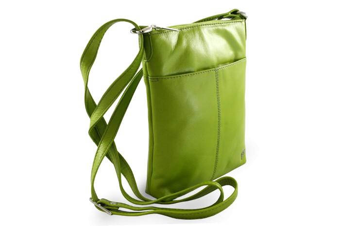 Zelená dámská kožená zipová crossbody kabelka Jenny