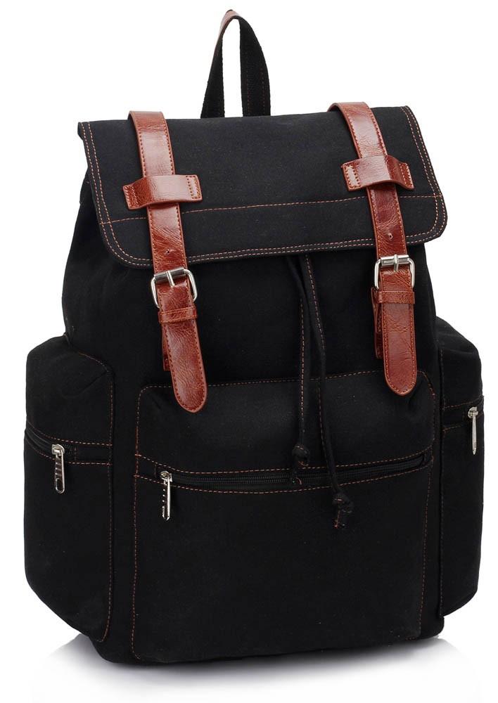 Černý trendy batoh s hnědým zapínáním Morell