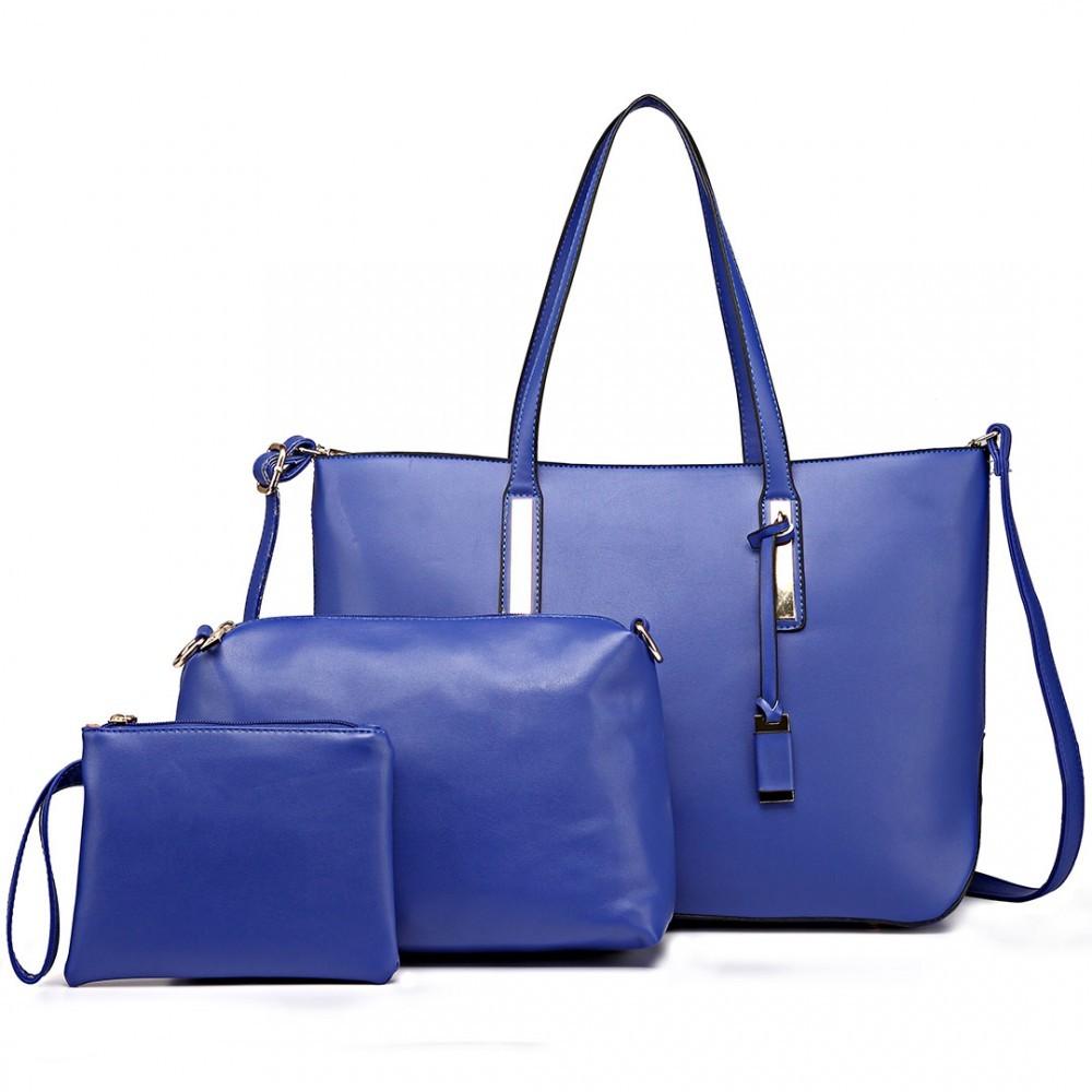 Modrá luxusní moderní dámská 3v1 kabelka Luxien